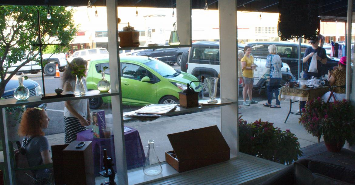 The view of Sip, Shop & Stroll from CHeMn Cafe.