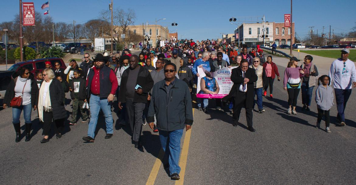 A huge crowd of people from across the county walked down Main Street in Elgin to celebrate Martin Luther King, Jr. Day on Monday morning.          Photos by Julianne Hodges
